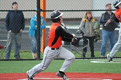 PIONEER PHOTO: CONNER WILLIAMS - Molalla junior Braden Hibbs takes off after hitting a deep fly ball to left field that drove in a run during the Indians' 8-6 win over Silverton on March 18 at Scio High School.