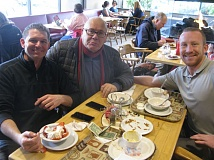 PHOTO BY: RAYMOND RENDLEMAN - Enjoying their meal at Tebo's Restaurant in Gladstone are Jeremy Cash Grohs (from left), Howard Grohs and Meric Weir.