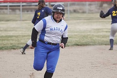 WILL DENNER/MADRAS PIONEER - Up and down the lineup, Madras played sound offensive softball in wins over Mountain View and La Pine, but few had a bigger impact than Celeste Morning Owl (above). The senior notched an RBI double in each game, and totaled three hits against La Pine.