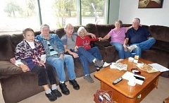REGAL COURIER PHOTO: BARBARA SHERMAN - Getting together to reminisce about old times are long-time Rivermeade residents (from left) Sue Tomita, Jack Miller, Dan Brenner, Dee Mobley and Yvonne and Ron Johnson.