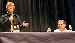 JASON CHANEY - Karen Budd-Falen, a Wyoming attorney and Sean Curtis of Modoc County, Calif., both experts on coordination, address locals on Wednesday evening during a public forum.