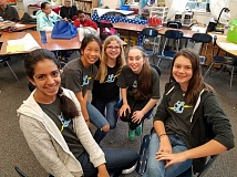 SUBMITTED PHOTO:  - Members of Lakeridge Junior High Schools Team Starbooks are (from left) Elina Deshpande, Malee Bedolla, Savannah Quast, Pauline Peterson and Jenna Whipple. The team made it to the final bracket in the regionals competition.