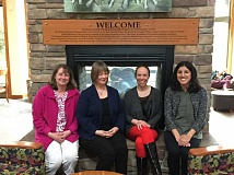 ESTACADA NEWS PHOTO: EMILY LINDSTRAND - Estacada library staff members Sarah Hibbert, Michele Kinnamon, Leslie Pearson and  Alice Perez Ververa are eager to welcome a variety of visitors to the library.