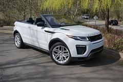 PORTLAND TRIBUNE: JEFF ZURSCHMEIDE - The 2017 Evoque Evoque convertible looks best with the top down. The top folds neatly and automatically into the area behind the rear seat, and lets you see the bold lines of the vehicle.